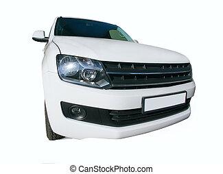 white modern off-road car isolated - big white modern...
