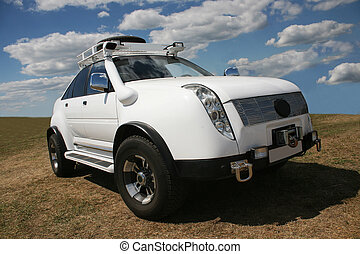 off-road car - big white off-road car in the field