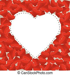 Big white paper heart with small red hearts