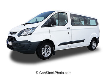 Passenger Van - Big White Passenger Van Isolated on White...