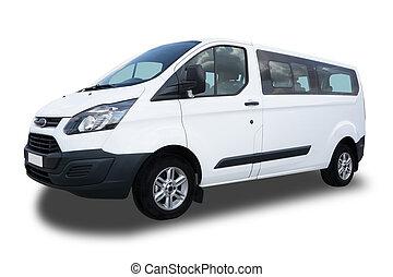 Passenger Van - Big White Passenger Van Isolated on White...