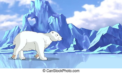 Big White Polar Bear in Arctic. Handmade animation, motion...