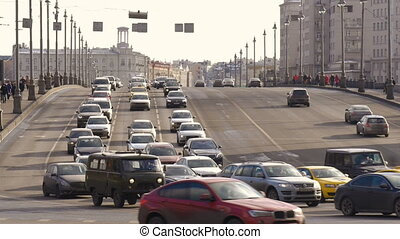Big wide road, very busy traffic of cars. Timelapse.