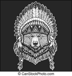 Big wild grizzly bear Cool animal wearing native american...