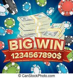 Big Win Banner. Background For Online Casino, Gambling Club, Poker, Billboard. Poker Chips Jackpot Illustration.