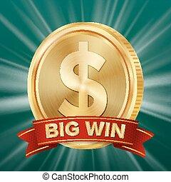 Big Win Banner. Background For Online Casino, Gambling Club, Poker, Billboard. Gold Coins Jackpot Illustration.