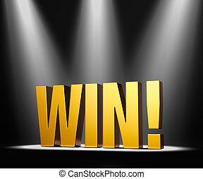 "Big Win - Gold ""WIN!"" on a dark background brilliantly..."
