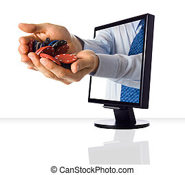 Hands poping out of a monitor with casino chips