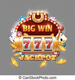 Big win lottery casino isolated on transparent background
