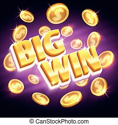 Big win money prize. Winning gambling vector concept with golden dollar coins