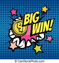 BIG WIN vintage vector background in pop art comic style