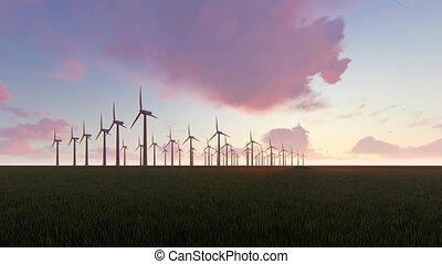 Wind generators on dawn