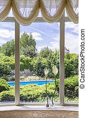 Big window with garden view