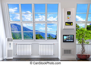 Big windows in the room with heating and smart technology. 3D illustration