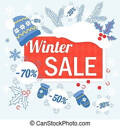 Big winter christmas sale design template with hat, glowes and sale tags discount.