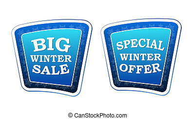 big winter sale and special winter offer - text on blue banners with snowflakes signs, retro style, business seasonal concept