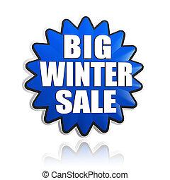 big winter sale in 3d blue star banner