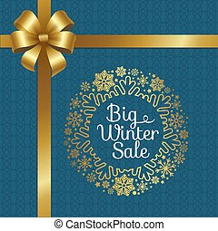 Big Winter Sale Poster with Gift Bow, Decor Frame
