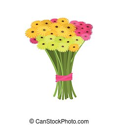 Big wonderful bouquet of pink and yellow gerberas tied with ribbon on empty background