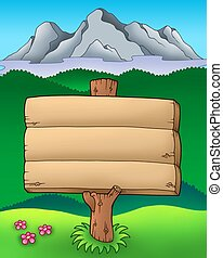 Big wooden sign with mountains - color illustration.