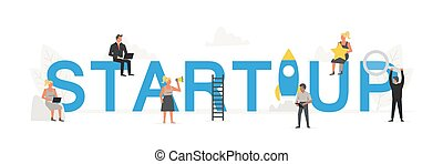 Big word Startup with small working people around it. Vector creative business banner for design concept. Illustration for presentations on white background