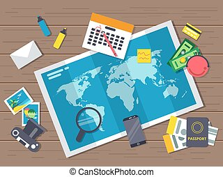 Big world map with different traveling elements on it. Planning of summer vacation route. Vector illustrations in flat style. Top view