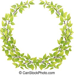 big wreath of tree branches with green leaves