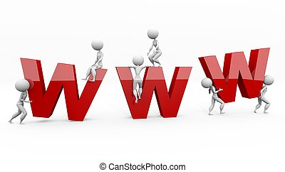 www - big www letters on white background with figures