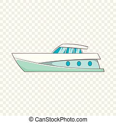 Big yacht icon, cartoon style