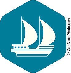 Big yacht icon, simple style