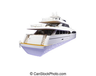Big yacht isolated back view