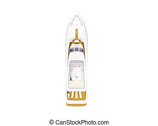 Big yacht isolated top view - isolated big yacht on white...