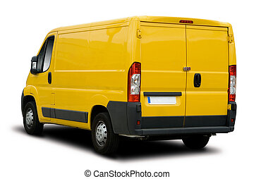 Yellow Delivery Van - Big Yellow Delivery Van Isolated on...