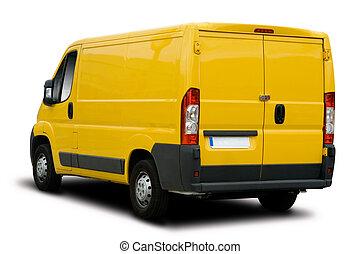 Yellow Delivery Van - Big Yellow Delivery Van Isolated on...