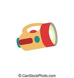 Big yellow green red flashlight Flat vector illustration