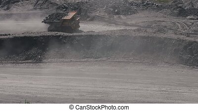 Big yellow heavy truck in open cast mine mining of coal the ...