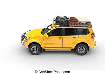 Big Yellow Modern SUV - top view