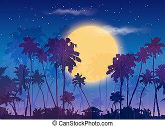 Big yellow moon with dark palms silhouettes on purple sky,...