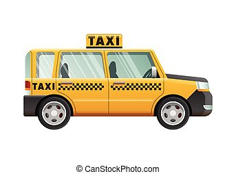 Big Yellow Taxicab. Checker on Roof of Automobile