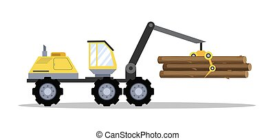 Big yellow tractor with wood or lumber.