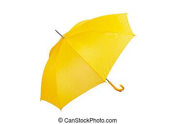 Big yellow umbrella on a white background