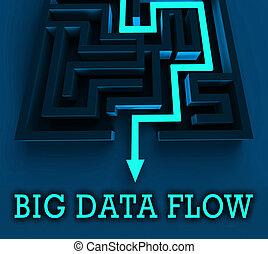 bigdata, flyde, strøm, i, stor, data, 3, illustration