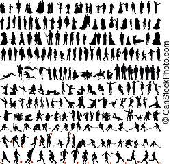 bigest, verzameling, van, mensen, silhouettes