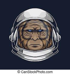 Bigfoot astronaut vector illustration