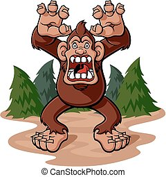 Bigfoot - Cartoon illustration of a bigfoot in aggressive...