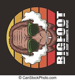 Bigfoot cigarette retro vector illustration