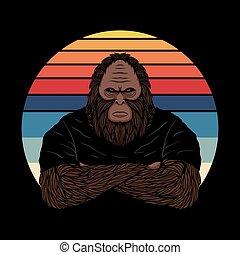 Bigfoot fierce face sunset retro vector illustration