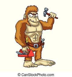 Bigfoot handyman cartoon - mythical monster