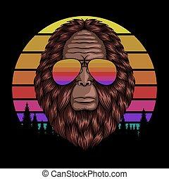 Bigfoot head eyeglasses sunset retro vector illustration
