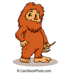 Bigfoot holding a horn. Cartoon illustration